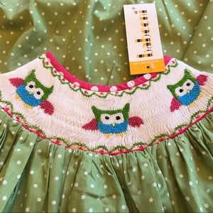 Babeeni Girls Size 5 Smocked Green Dress Owls NEW